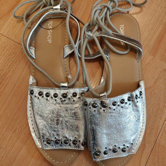 Shiny Silver Leather Flat Sandals